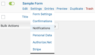 Conditional Logic Notifications Settings