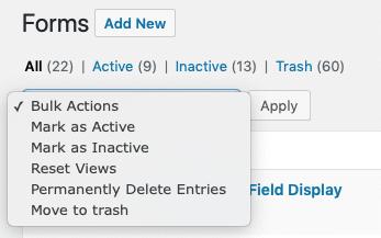 Forms List Bulk Actions