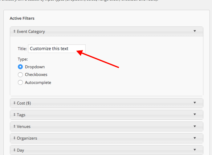Example of Filter Title Field