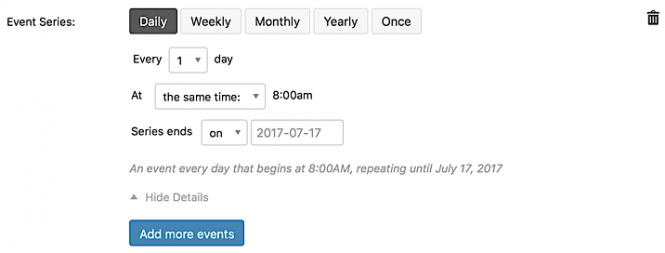 """Options for """"daily"""" event series type"""