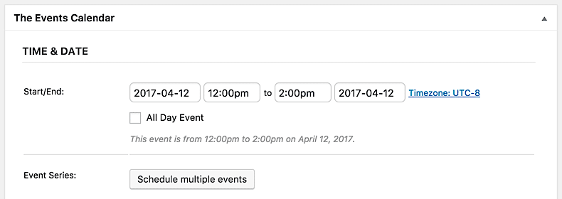 Time & Date options with button for scheduling multiple recurring events