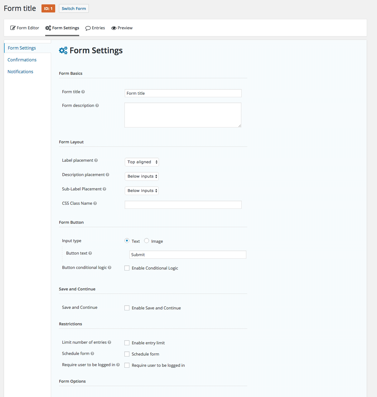 Forms Settings Overview