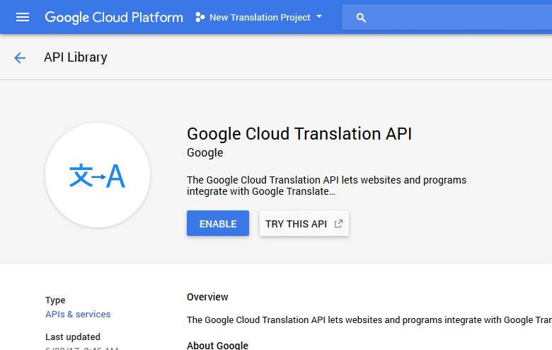 google clould translation api