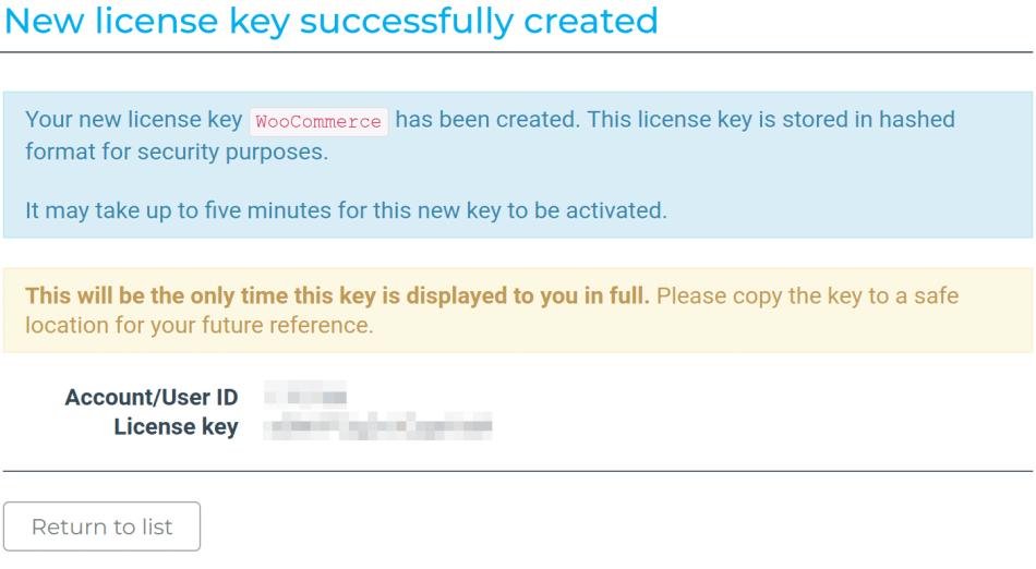 MaxMind license key created page