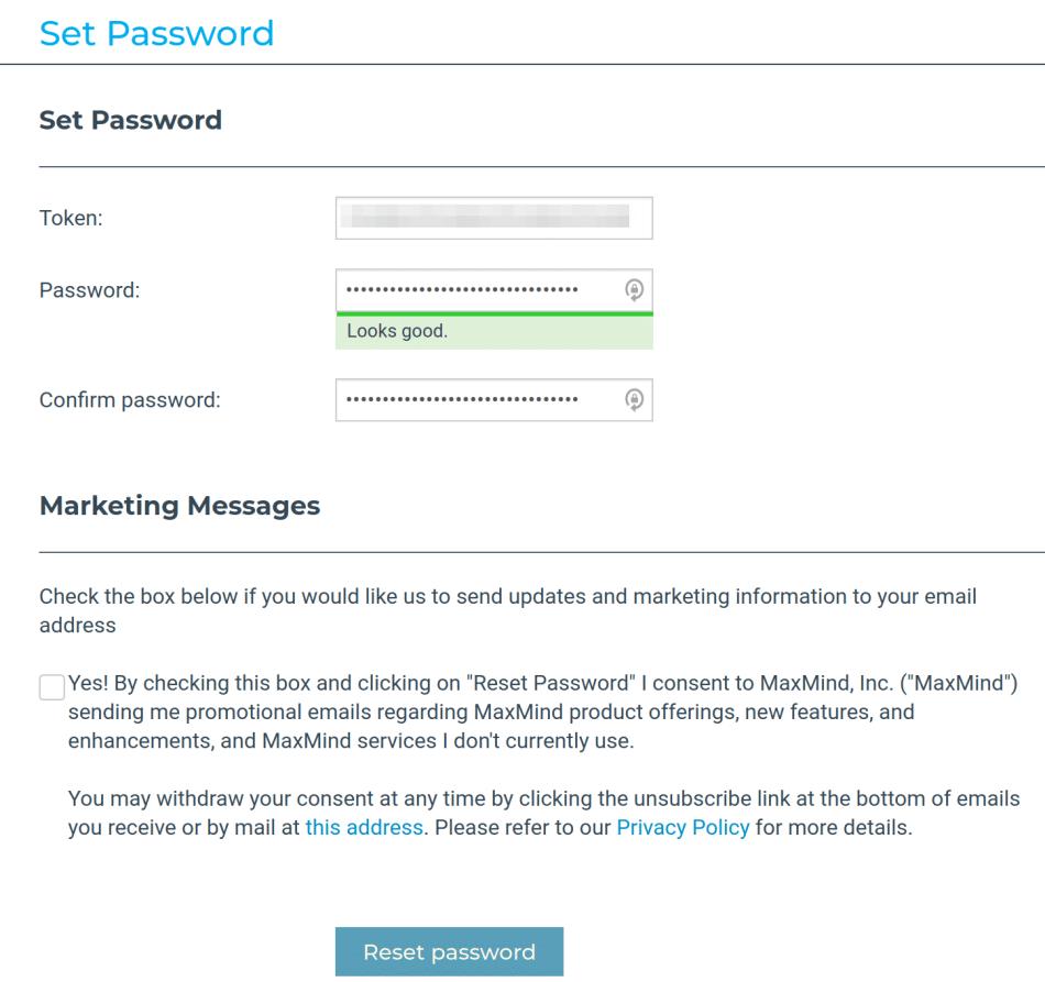 MaxMind set password form