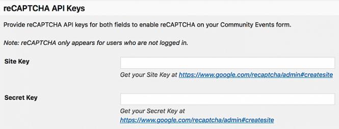reCAPTCHA API key fields in settings