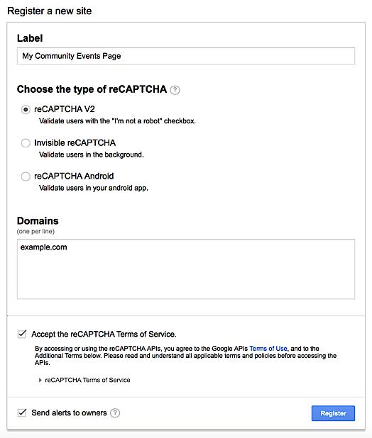 Registration form for reCAPTCHA