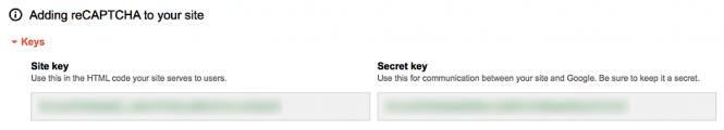 Site key and secret key for reCAPTCHA