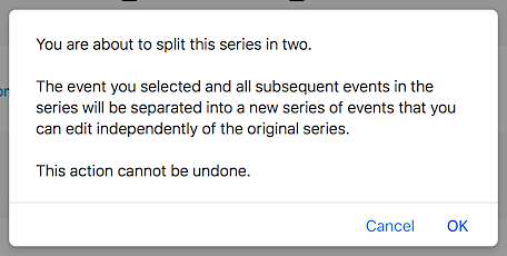 Dialog box that appears when splitting an event series in two